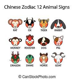 Chinese Zodiac 12 Animal Signs