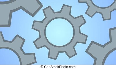 Grey cogs gears on blue background Gears as a single...
