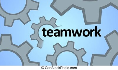 The concept of teamwork. Gears as a single mechanism