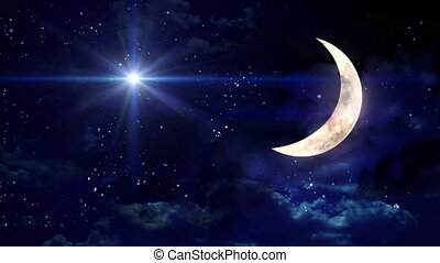 clear half moon blue star - starry star night with half moon...