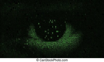 Hacker looking at the camera with laptop, binary codes...
