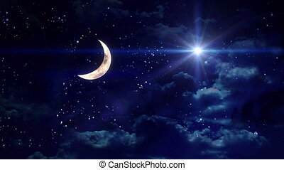 clear half moon wide star - starry star night with half moon...