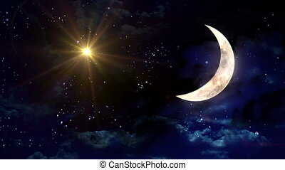 clear half moon yellow star - starry star night with half...