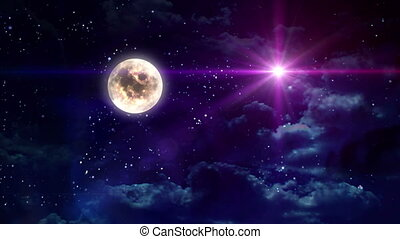 clear moon and color star - starry star night with full moon...