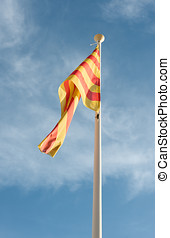 Flag autonomy Catalunya - Detail Flag autonomy of Catalonia...