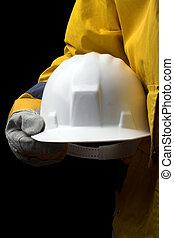 helmet - man holding white helmet over black