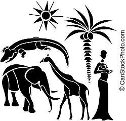 africa - traditional elements of Africa on a white...
