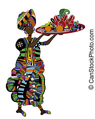 feast - woman with a meal on a white background in ethnic...