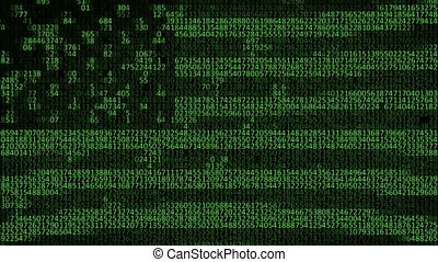 American flag with computer code. The concept of espionage