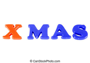 "x-mas - the word ""x-mas\"" made of colorful letters"