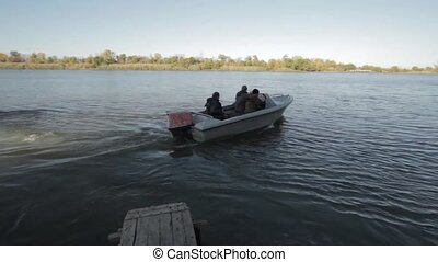 Astrakhan The delta of the Volga River - Boat with motor...