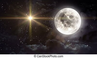 clear moon with yellow star - starry star night with full...