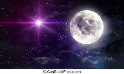 clear moon with color star - starry star night with full...