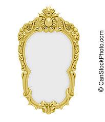 Golden frame over white - Isolated decorative golden frame...