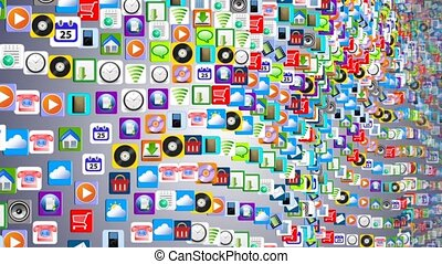 Mobile App of many mobile applications swaying on the waves