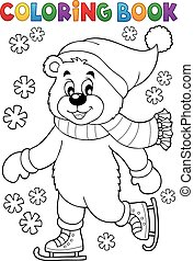 Coloring book ice skating bear - eps10 vector illustration