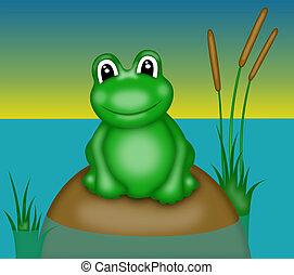 frog with big eyes - illustration of green smiling frog with...