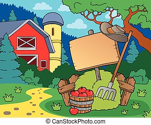 Farm theme with sign - eps10 vector illustration.