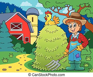 Farmer topic image 1 - eps10 vector illustration.