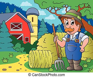 Farmer topic image 3 - eps10 vector illustration.