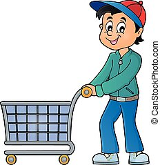Man with empty shopping cart