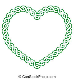 Celtic pattern green heart shape - love concept fot St...