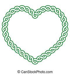 keltisch, Muster, grün, herz, FORM, -, ,