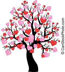 Silhouette of tree with hearts theme 1