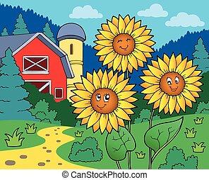 Sunflowers near farm - eps10 vector illustration
