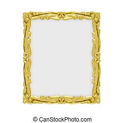Golden frame over white - Isolated golden frame over white...