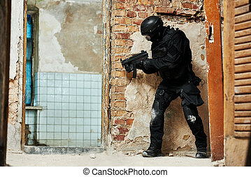 Military industry. Special forces or anti-terrorist police soldier