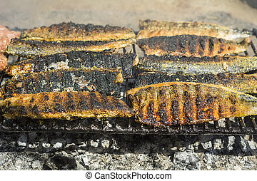 Grilled fish fillet - Detail of mackerel fish grilled on an...