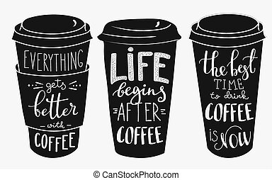 Quote lettering on coffee paper cup shape set - Quote...