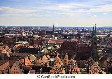 View on Nuremberg from the Imperial Castle, Germany, 2015 -...