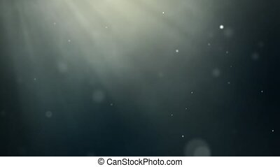 Background in the dark with sun rays and flying particles...