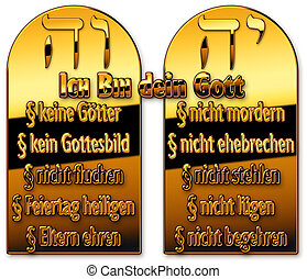 commandments - Two plates with 10 commandments