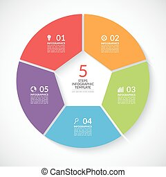 Infographic circle banner Vector template with 5 steps,...