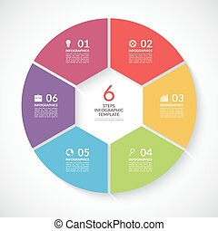 Infographic circle banner. Vector template with 6 steps,...