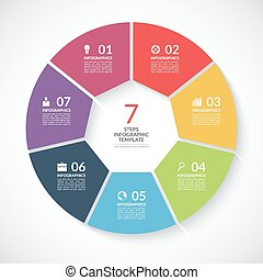 Infographic circle banner. Vector template with 7 steps,...