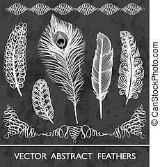 Set of abstract feathers. Vector illustration, EPS10.