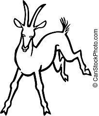 Goat Frolicking - vector line drawing of a goat kicking up...