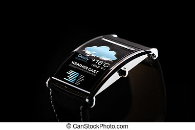 close up of black smart watch with weather cast - modern...