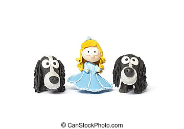 Toy doll with dogs on white - Handmade toy doll with two...