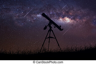 Infinite space background with silhouette of telescope. This...