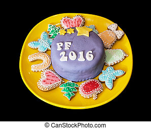 The title PF 2016 written on festive cake with various...