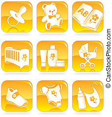 Icon set - baby shopping, clothes, shoes, books, furniture,...