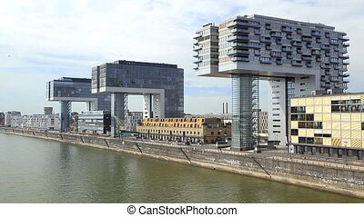 Beautiful buildings near the river in Cologne - Europe...