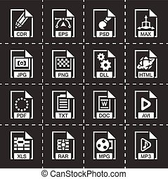 Vector File type icon set on black background