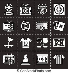 Vector Football icon set on black background