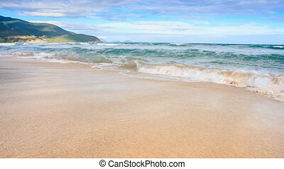 Closeup Fantastic Wave Surf on Golden Sand Beach Blue Sky Hill